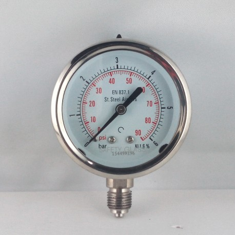 Stainless steel pressure gauge 6 Bar diameter dn 63mm bottom