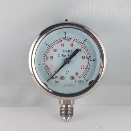 Stainless steel pressure gauge 6 Bar diameter dn 63mm bottom