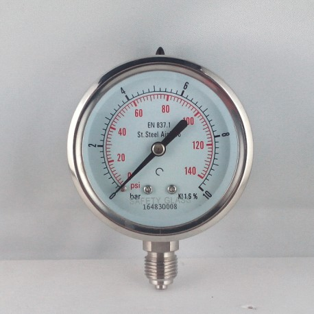 Stainless steel pressure gauge 10 Bar diameter dn 63mm bottom