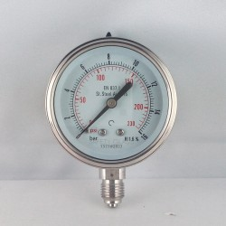Stainless steel pressure gauge 16 Bar diameter dn 63mm bottom