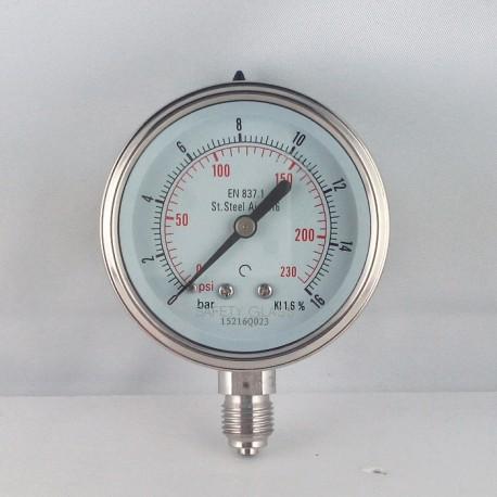 Stainless steel pressure gauge 16 Bar diameter dn 63mm bottom