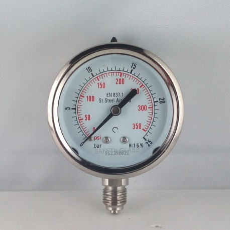 Stainless steel pressure gauge 25 Bar diameter dn 63mm bottom