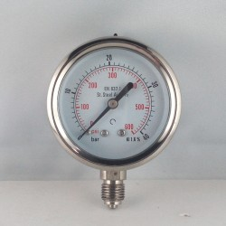 Stainless steel pressure gauge 40 Bar diameter dn 63mm bottom