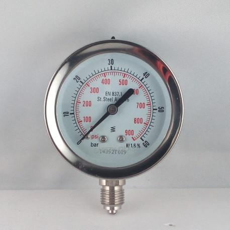 Stainless steel pressure gauge 60 Bar diameter dn 63mm bottom