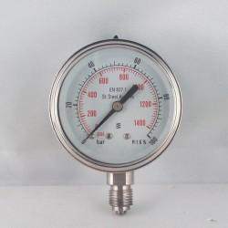 Stainless steel pressure gauge 100 Bar diameter dn 63mm bottom