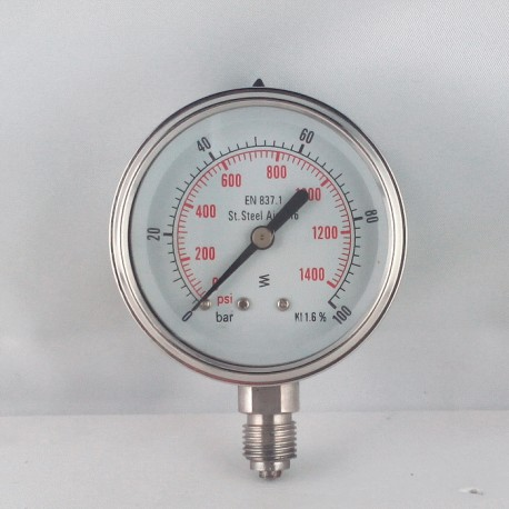 Stainless steel pressure gauge 100 Bar diameter dn 63mm bottom