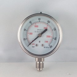 Stainless steel pressure gauge 160 Bar diameter dn 63mm bottom