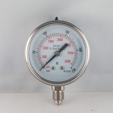 Stainless steel pressure gauge 250 Bar diameter dn 63mm bottom