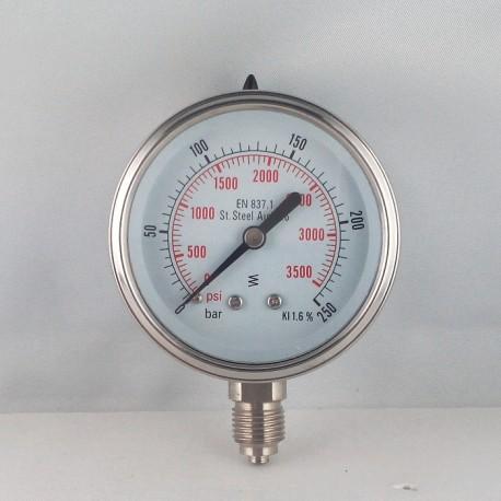 Stainless steel pressure gauge 250 Bar diameter dn 63mm bottom