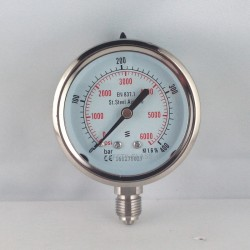 Stainless steel pressure gauge 400 Bar diameter dn 63mm bottom