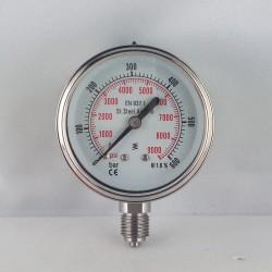 Stainless steel pressure gauge 600 Bar diameter dn 63mm bottom