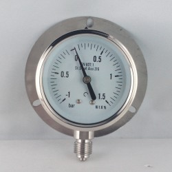 Stainless steel vacuum gauge -1+1,5 Bar dn 63mm back flange