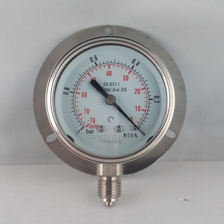 Stainless steel vacuum gauge -1 Bar dn 63mm back flange