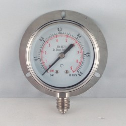 Stainless steel pressure gauge 0,6 Bar dn 63mm back flange