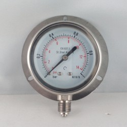 Stainless steel pressure gauge 1 Bar dn 63mm back flange