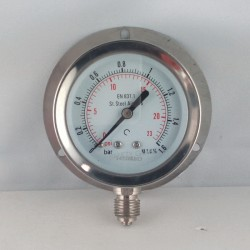 Stainless steel pressure gauge 1,6 Bar dn 63mm back flange