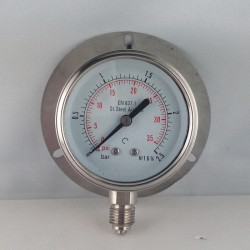 Stainless steel pressure gauge 2,5 Bar dn 63mm back flange