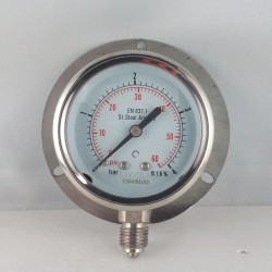 Stainless steel pressure gauge 4 Bar dn 63mm back flange
