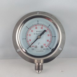 Stainless steel pressure gauge 6 Bar dn 63mm back flange