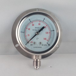 Stainless steel pressure gauge 10 Bar dn 63mm back flange
