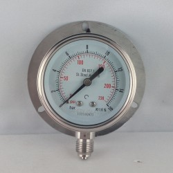 Stainless steel pressure gauge 16 Bar dn 63mm back flange