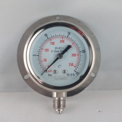 Stainless steel pressure gauge 25 Bar dn 63mm back flange