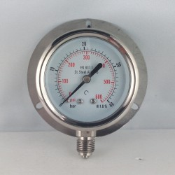 Stainless steel pressure gauge 40 Bar dn 63mm back flange