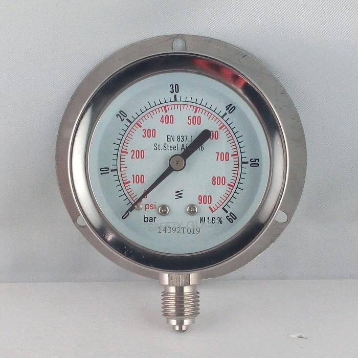 Stainless steel pressure gauge 60 Bar dn 63mm back flange