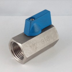 "Mini exagonal stainless steel ball valves 1/2"" F/F"