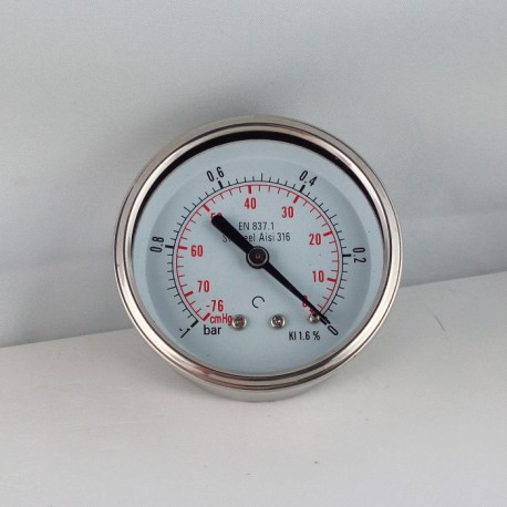 Stainless steel vacuum gauge -1 Bar diameter dn 63mm back