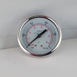 Stainless steel pressure gauge 1 Bar diameter dn 63mm back