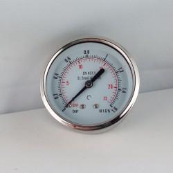 Stainless steel pressure gauge 1,6 Bar diameter dn 63mm back