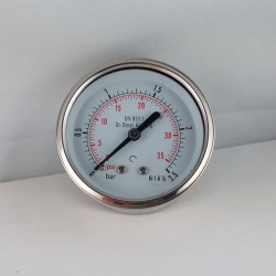 Stainless steel pressure gauge 2,5 Bar diameter dn 63mm back