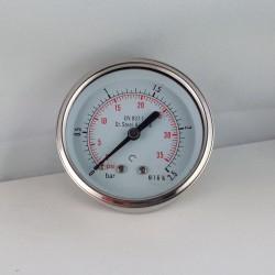 Stainless steel pressure gauge 2,5 Bar diameter dn 63mm back