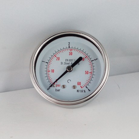 Stainless steel pressure gauge 4 Bar diameter dn 63mm back
