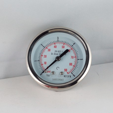 Stainless steel pressure gauge 6 Bar diameter dn 63mm back