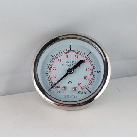 Stainless steel pressure gauge 6 Bar diameter dn 63mm back