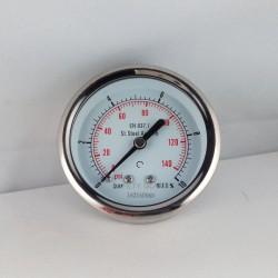 Stainless steel pressure gauge 10 Bar diameter dn 63mm back