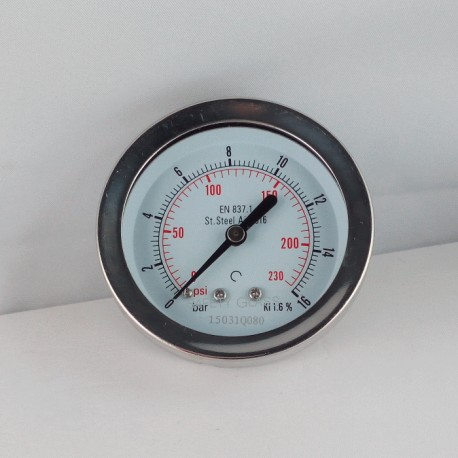 Stainless steel pressure gauge 16 Bar diameter dn 63mm back