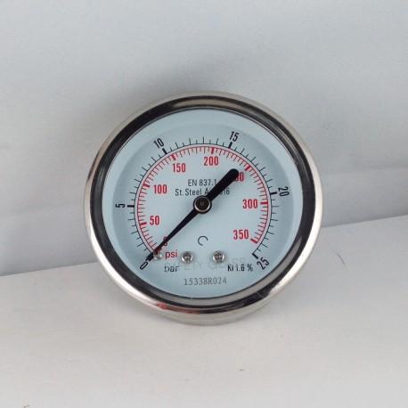 Stainless steel pressure gauge 25 Bar diameter dn 63mm back