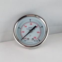 Stainless steel pressure gauge 40 Bar diameter dn 63mm back
