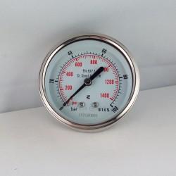 Stainless steel pressure gauge 100 Bar diameter dn 63mm back