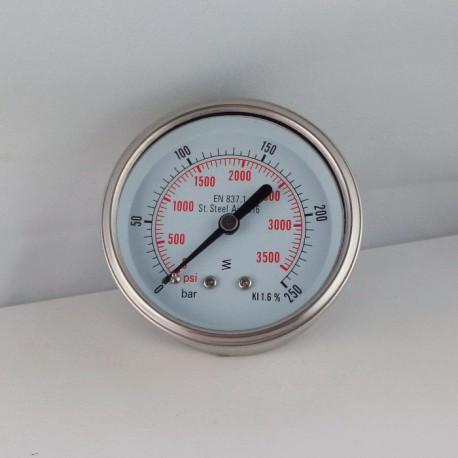 Stainless steel pressure gauge 250 Bar diameter dn 63mm back