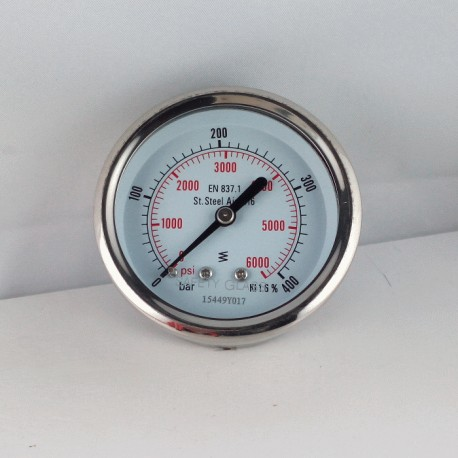 Stainless steel pressure gauge 400 Bar diameter dn 63mm back