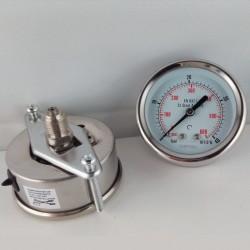 Stainless steel pressure gauge 40 Bar dn 63mm u-clamp