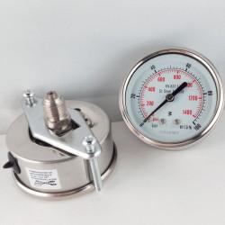 Stainless steel pressure gauge 100 Bar dn 63mm u-clamp