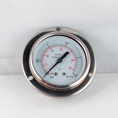 Stainless steel pressure gauge 2,5 Bar dn 63mm flange