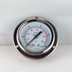 Stainless steel pressure gauge 10 Bar dn 63mm flange