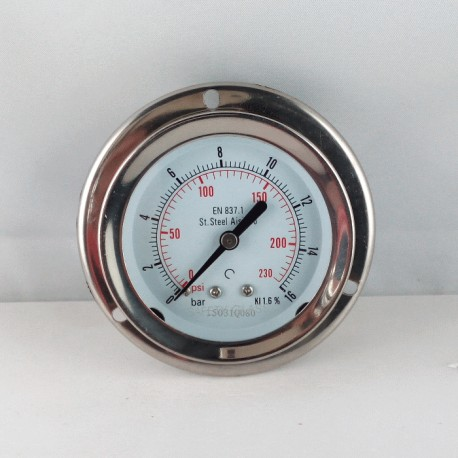 Stainless steel pressure gauge 16 Bar dn 63mm flange