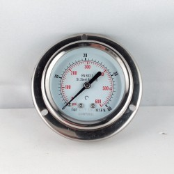 Stainless steel pressure gauge 40 Bar dn 63mm flange